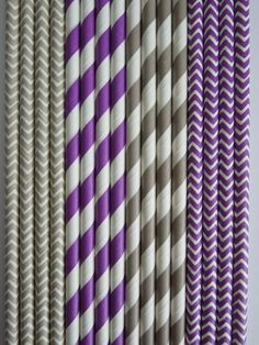 50 PURPLE & GRAY Paper Straws Mix Stripes + Chevron DiY Flags- Wedding Kids Birthday Baby Shower Bachelorette Party Ships Fast!Free Tracking $5.99