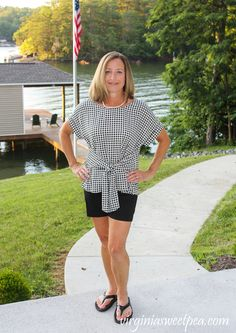 Stitch Fix Review for July 2020 - West Kei Julianna Cuffed Sleeve Tie Front Blouse  #stitchfix #stitchfixreview Stitchfix Reviews, Tie Front Blouse, Women's Fashion, Fashion Outfits, Old Navy Shorts, Crochet Trim, Swimsuit Cover, Cuff Sleeves, Summer Tops