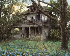 Old House Painting - Forget-me-not by Doug Kreuger Abandoned Mansion For Sale, Abandoned Farm Houses, Abandoned Mansions, Old Houses, Old Buildings, Abandoned Buildings, Abandoned Places, Haunted Places, Abandoned Castles