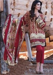 Casual Wear Maroon Pashmina Printed Straight Suit