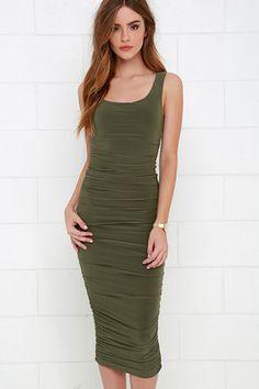 Posh and Polished Olive Green Midi Dress