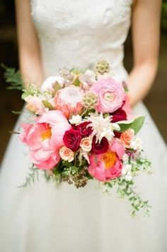 Lush pink and red bouquet with Peonies, Roses, Astilbe, Proteas  {Flower 579}