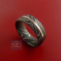 Damascus Steel 14K Rose Gold Ring Wedding Band Custom Made to Any Size3-22. $298.92, via Etsy.