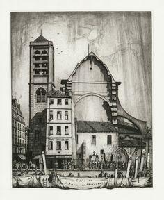 Eglise de St. Nicolas du Chardonnet, Paris c.1910 by Fred Hall (1860-1948, British) etching