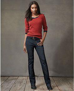 Slightly Curvy Boot Cut Jeans - StayShape®   Eddie Bauer