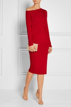 DONNA KARAN NEW YORK Off-the-shoulder draped stretch-jersey dress.. I would LOVE to wear something like this. Class.