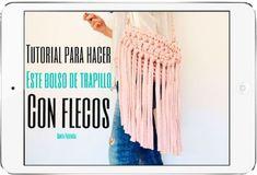 Cómo tejer un bolso de trapillo con flecos fácil - El Cómo de las Cosas Pli, Knit Crochet, Crochet Bags, Boho, Tassel Necklace, Diy And Crafts, Sewing Patterns, Kids Fashion, Knitting
