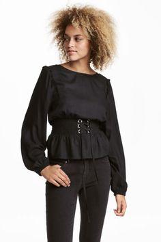 Bluzka z marszczeniem - Czarny - ONA   H&M PL 1