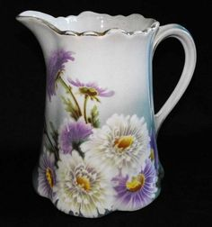 Large French Antique Keller  Guerin Floral Pitcher 1900 to 1920 Stunning!