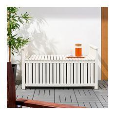ÄNGSÖ Storage bench, outdoor - white stained, - - IKEA