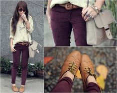 colored jeans + oxfords