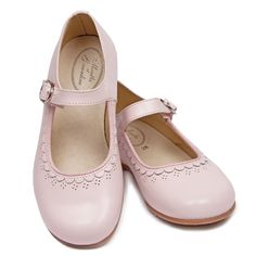 daa804be0 Marguerite, Young Girls Shoes, from Menthe et Grenadine, a Classic styled  full Leather Children's Shoe for Girls in pink with a beautifully decorated  upper, ...