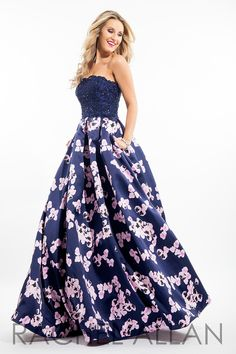 Rachel Allan 7111 - Full ball gown with lace top and printed mikado skirt