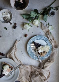 Blackberry Chocolate Italian Tart with Coffee-infused Creme Fraiche
