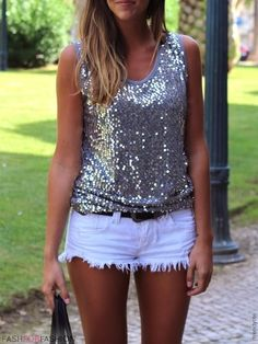Grey Sequins Top & White Denim Shorts from live-breathe-fashion.tumblr.com