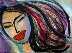 Cuadro MUJER INDU Técnica mixta sobre lienzo 30cm x 40cm www.penseenvos.com