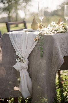 dreamy pear blossom wedding inspiration + gray table linens | Christine Gosch | Glamour & Grace