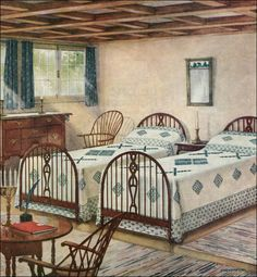 1923 Simmons Mattress Ad Traditional bedroom with Colonial style furniture. Ladies Home Journal. By American Vintage Home / Rikki Nyman. Living Vintage, Vintage Room, Bedroom Vintage, Vintage Kitchen, 1920s Home Decor, Vintage Home Decor, Vintage Homes, Style At Home, 1920s Bedroom