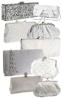 Wedding Clutches and Bridal Bags  * Edie Parker ~ Flavia Geo Clutch $1095  * Extended Bow Clutch $24  * La Regale Crystal Clutch $266  * Satin Framed Clutch Bag $20  * Sondra Roberts Pleated Satin Clutch Bag $118  * Menbur Jeweled ~ Satin Clutch $62 ~ ~ DIY this with vintage earrings!  * Puffed Satin Bridal Purse $40  * Whiting & Davis Dimple Mesh Framed Clutch $158  * Embellished Clutch Bag w/ Handle $30