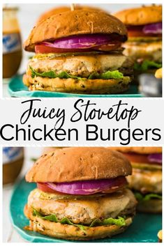 burger recipes These delicious and juicy chicken burgers are cooked in a skillet and are perfect for an easy weeknight meal. Packed full of flavor, these ground chicken burgers are quick to make and will be a hit with the whole family! Easy Chicken Burger Recipe, Chicken Burgers Healthy, Ground Chicken Burgers, Yummy Chicken Recipes, Healthy Recipes, Ground Turkey Burgers, Healthy Dinners, Healthy Foods, Keto Recipes