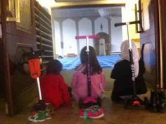 Mary and the girls rode their scooter to the London Central Mosque for the first time