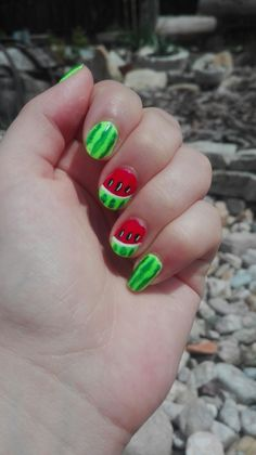 red and green summer nails with melon