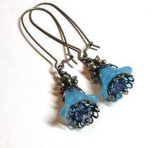 Jewelry, Earrings Teal Lucite Floral, Swarovski Indicolite Austrian Crystal, Antique Brass FREE SHIPPING. $6.00, via Etsy.