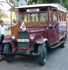 Vintage 1932 Bedford Bus No: in Malta. Antique Trucks, Vintage Trucks, Old Trucks, Bedford Buses, Malta Bus, Malta Island, Bus Coach, Beach Trip, Beach Travel