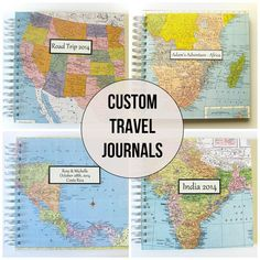 Travel Journal / Photo Album with Custom Map by VintagePageDesigns
