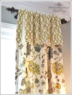 Treatment Ideas You Can Do! Window Treatment Ideas From Custom Curtains To Easy Sewing Projects You Can Do!Window Treatment Ideas From Custom Curtains To Easy Sewing Projects You Can Do! No Sew Curtains, Custom Curtains, Fancy Curtains, Teal Curtains, Burlap Curtains, Blinds For Windows, Curtains With Blinds, Valances, Window Treatments Living Room Curtains
