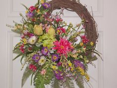 Spring Summer Door or Wall Wreath with Flowers of Purple, Yellow, Pink, Summer Grapevine Wreath Complimened with Greenery &  Grass