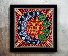 Huichol Print Mexican Painting Mexican decor Digital Print Yarn Painting, Pottery Painting, Mexican Wall Art, Mexican Paintings, Art Nouveau, Sugar Skull Tattoos, Art File, Painted Paper, Aboriginal Art