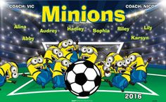 Minions B52889  digitally printed vinyl soccer sports team banner. Made in the USA and shipped fast by BannersUSA.  You can easily create a similar banner using our Live Designer where you can manipulate ALL of the elements of ANY template.  You can change colors, add/change/remove text and graphics and resize the elements of your design, making it completely your own creation.
