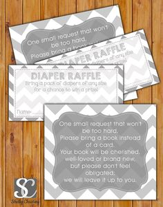 In Lieu of card, Book Baby Shower Invitation Inserts Instead of a card Diaper Raffle Combo Grey Chevron Printable PDF--Instant Download