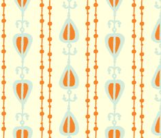Coral Beaded Ikat fabric by fable_design on Spoonflower - custom fabric