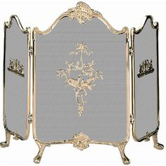 Uniflame Ornate Solid Brass Fireplace Screen - S-9099