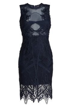 f71c257826c76 Bardot Navy Illusion Lace Sheath Mid-length Cocktail Dress Size 12 (L) -