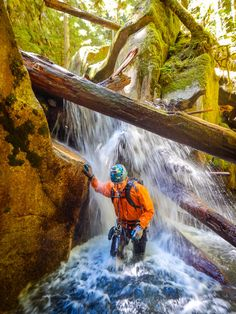 """Canyoneering in British Columbia """"The otherworldly beauty surrounding you in the canyons invites you to linger, yet the roar of cold rushing water carving its way through solid rock reminds you that you can only visit this place momentarily."""" #exploreBC"""