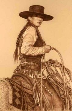In the Traditions of Her Father by Carrie Ballantyne Cowgirl And Horse, Cowboy Art, Cowgirl Style, Old West, Westerns, Estilo Cowgirl, Faye Valentine, Cow Girl, Vintage Cowgirl
