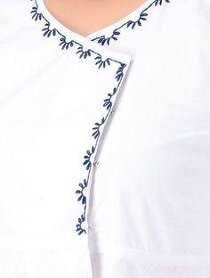 Best 11 Ivory Hand-embroidered Cotton Wrap Kurta with Asymmetrical Hem Salwar Neck Designs, Neckline Designs, Neck Designs For Suits, Kurta Neck Design, Dress Neck Designs, Designs For Dresses, Kurta Designs, Diy Embroidery Patterns, Embroidery On Kurtis