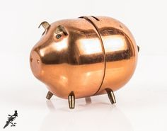 Adorable Vintage Solid Copper Piggy Bank  How by TheCordialMagpie
