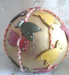 Magnifique boule de Noël cigale cuir véritable or rouge vert jaune 1 jeu 3 Provence de la boutique 1jeu3Provence sur Etsy