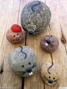 MICE - stone, natural stones, painting, paintings, painted rocks, nature finds, driftwood, sea, wall decorations, sheep, lambs, kids painting, kids paintings, handicrafts, homemade