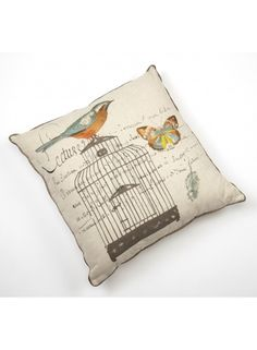 Birdcage Embroidered Cushion @ rosefields.co.uk