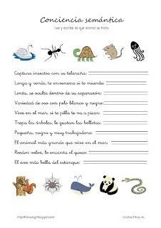 Cositas de AL y PT: Conciencia semántica Writing Skills, Homeschool, Psp, Valencia, Spanish, Kids, Special Education, School, Fields