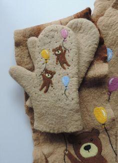 Варежки, митенки, перчатки ручной работы. Ярмарка Мастеров - ручная работа комплект с мишками. Handmade.