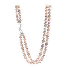 Naomi Sarna Double Strand Freshwater Pearl Diamond Gold Necklace | From a unique collection of vintage multi-strand necklaces at https://www.1stdibs.com/jewelry/necklaces/multi-strand-necklaces/
