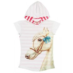 Hooded Tee Dress - Horse with Bow