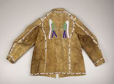 American Indian Art:War Shirts/Garments, A SIOUX PICTORIAL BEADED HIDE JACKET. . c. 1890. ... Native American Clothing, Native American Crafts, Native American Artifacts, Native American Beadwork, American Indian Art, American Indians, Male Clothing, Sioux, Beaded Jacket