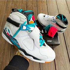 "89cf6b8956f0b4 zSneakerHeadz on Instagram  ""Did you grab a pair today⁉ 2018 Air Jordan  Retro 8 White White-Turbo Green-Multi-Color 🔥📸   dsdan1"""